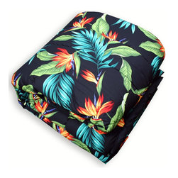 Birds of Paradise Bedding - Another comforter we considered for our Birds of Paradise Room, this tropical comforter features a black background with stunning birds of paradise Hawaiian flowers, and soft green leaves. 100% cotton comforter.