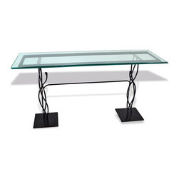 """Mathews & Company - Mystic Isle Console Base with 14"""" x 60"""" Glass Top - Our overview of the new Mystic Isle Console Base with 14"""" x 60"""" Glass Top is on its way but you can still purchase this wonderful piece for your home today. Pictured in Black finish."""