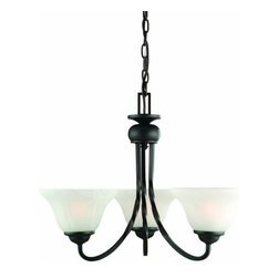 DHI-Corp - Drake 3-Light Chandelier, Oil Rubbed Bronze - The Design House 514893 Drake 3-Light Chandelier is made of formed steel, alabaster glass and finished in oil rubbed bronze. This 3-light chandelier is rated for 120-volts and uses (3) 60-watt medium base incandescent bulbs. This chandelier's sprawling arms meet (3) upward facing lamps gently diffusing light from above. Measuring 16-inches (H) by 21-inches (W), this 11-pound fixture comes with a 48-inch chain that converts this ceiling mounted light to an elegant chandelier. Twisted steel accentuates the alabaster glass to create a rustic centerpiece over a dining room table, in an entry way or in a kitchen. This product is UL and CUL listed. The Drake collection features a beautiful matching island pendant, vanity light, wall sconce and mini pendant. The Design House 514893 Drake 3-Light Chandelier comes with a 10-year limited warranty that protects against defects in materials and workmanship. Design House offers products in multiple home decor categories including lighting, ceiling fans, hardware and plumbing products. With years of hands-on experience, Design House understands every aspect of the home decor industry, and devotes itself to providing quality products across the home decor spectrum. Providing value to their customers, Design House uses industry leading merchandising solutions and innovative programs. Design House is committed to providing high quality products for your home improvement projects.