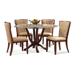 Bassett Mirror Company - Bassett Mirror Serenity 5 Piece Round Glass Pedestal Dining Room Set - 5 Piece Round Glass Pedestal Dining Room Set belongs to Serenity Collection by Bassett Mirror Company Four top support arms and four feet. Footpads for stability. Tinted 0.37'' beveled edge polished scratch resistant round glass top. Construction: Solid hardwood construction. Color/Finish: Rich Toasted Tobacco finish. Dining Table (1) , Side Chair (4)