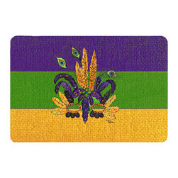 Caroline's Treasures - Mardi Gras Mask Kitchen Or Bath Mat 24X36 - Kitchen or Bath COMFORT FLOOR MAT This mat is 24 inch by 36 inch. Comfort Mat / Carpet / Rug that is Made and Printed in the USA. A foam cushion is attached to the bottom of the mat for comfort when standing. The mat has been permenantly dyed for moderate traffic. Durable and fade resistant. The back of the mat is rubber backed to keep the mat from slipping on a smooth floor. Use pressure and water from garden hose or power washer to clean the mat. Vacuuming only with the hard wood floor setting, as to not pull up the knap of the felt. Avoid soap or cleaner that produces suds when cleaning. It will be difficult to get the suds out of the mat