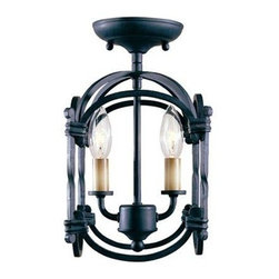 World Imports - Hastings 2-Light Semi-Flushmount Lantern, Rust - Rust finish