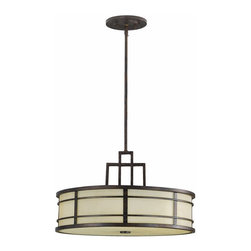 Murray Feiss Lighting - Murray Feiss Lighting-F2081/3GBZ-The Fusion Collection Chandelier - Uplight - Grecian Bronze Finish with Amber Ribbed Glass