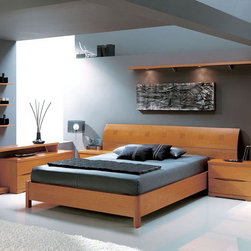 Made in Spain Wood Platform Bedroom Set with Extra Storage - Natural wood contemporary Bedroom Set from Spain will look amazing in any modern designed bedroom. Composition offers not traditional items for your bedroom.