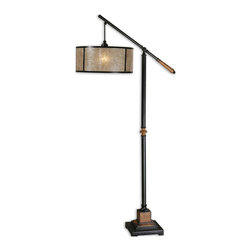 Uttermost - Uttermost Sitka Floor Lamp w/ Natural Mica Shade - Floor Lamp w/ Natural Mica Shade belongs to Sitka Collection by Uttermost Aged black metal accented with solid wood details finished in a heavily distressed rustic mahogany and a light rottenstone glaze. The round drum shade is made of natural Mica with aged black trim. Lamp (1)