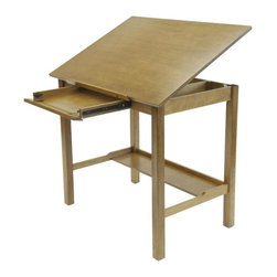 Studio Designs - Americana II Drafting Table - Top Angle Adjusts from Flat to 20 Degrees. Main Work surface: 42 in. W x 30 in. D. Drawer Dimensions: 19.5 in. W x 15 in. D x 3 in. H. Drawer Front folds down for use as a keyboard shelf. Lower Storage Shelf: 36 in. W x 9 in. D. 24 in. Slide-up Pencil Ledge. Solid Hardwood Frame for Stability. Overall Dimensions: 42 in. W x 30 in. D x 36 in. H (54 lbs)The handsome, minimalist design of the America II Drafting Table complements any home or work space. Its versatile construction accommodates art supplies, computers and more.The table features a 24 in. slide-up pencil ledge. The drawer front below it folds down for use as a computer shelf. Made of a solid hardwood frame for stability.