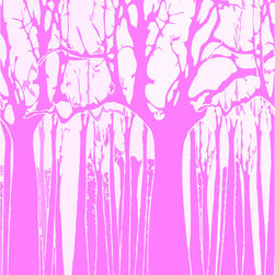Murals Your Way - Trees - Hot Pink Wall Art - Painted by Estela Lugo, the Trees - Hot Pink wall mural from Murals Your Way will add a distinctive touch to any room
