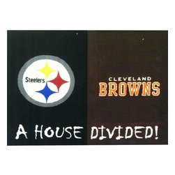Fanmats - NFL Steelers-Browns Football House Divided Accent Floor Rug - Features:
