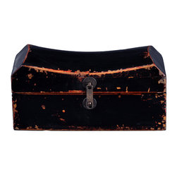 Antique Revival - Black Vintage Cathay Pillow Box - This handcrafted, vintage jewelry pillow box was formerly used to store jewels and other small valuables. You can easily store any kind of small knick knacks inside, and the unique, curved shape adds an interesting accent to any dresser, armoire or nightstand. The distressed finish gives it the perfect rustic, vintage look.