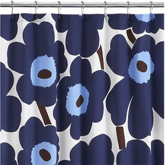 Unikko Blue Shower Curtain in New | Crate and Barrel