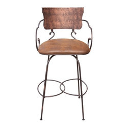 """Artisan Home Furniture - Hand Forged Swivel Bar Stool with Arms - The bar stools have been designed with form and function in mind. They feature hand crafted and hand forged metal bases constructed in the old world tradition for strength and durability. Features: -Iron and microfiber seat. -Hand crafted. -One year warranty. Dimensions: -45.5"""" H x 19"""" W x 22.75"""" D, 56.2 lbs."""