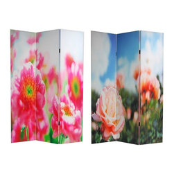 Oriental Furniture - 6 ft. Tall Double Sided Summer Flowers Canvas Room Divider - A beautiful screen with close cropped, magnified sections of rich, saturated color close ups of garden flowers awash in daylight. Happy, beautiful images, printed onto portable, durable, 3 panel canvas room dividers.