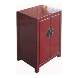 Golden Lotus - Nightstand End Table Chinese Red Lacquer Moon Face Cabinet - This is a Chinese red lacquer nightstand end table which is made of solid elm wood.  The front of cabinet has Chinese brass moon face design on it.