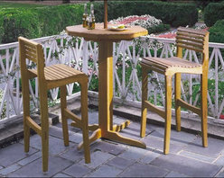 """Fifthroom - 30"""" Oak Bar Table - Our 30-inch Oak Bar Table is ideal for small porches, patios, or gazebos.  It's just the right size for chatting over drinks with a friend, having a late supper, or sharing a nightcap (the kind you drink!) with someone special.  Made from genuine Oak, it's finished to radiant perfection with penetrating oil and a wood preservative that enable it to hold its own against the elements for years."""