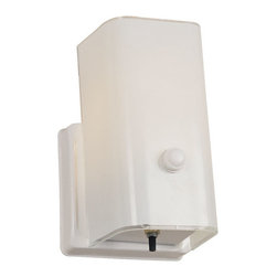 Design House - White Single Light Wall Sconce with Switch - -The Design House 501130 1-Light Wall Sconce with Switch is made of formed steel, white glass and finished in white. This 1-light wall mount is rated for 120-volts and uses (1) 60-watt medium base incandescent bulb. This sconce?s petite design mounts seamlessly to the wall without a chain or visible wires. Measuring 7.5-inches (H) by 4.5-inches (W), this 1.06-pound fixture?s minimal details brightens the white glass to create a modern centerpiece in a hallway, entry way or bathroom. This product is UL and cull listed and approved for damp areas. The Design House 501130 1-Light Wall Sconce with Switch comes with a 10-year limited warranty that protects against defects in materials and workmanship. Design House offers products in multiple home decor categories including lighting, ceiling fans, hardware and plumbing products. With years of hands-on experience, Design House understands every aspect of the home decor industry, and devotes itself to providing quality products across the home decor spectrum. Providing value to their customers, Design House uses industry leading merchandising solutions and innovative programs. Design House is committed to providing high quality products for your home improvement projects. -Made of formed steel, white glass and finished in white -Measuring 7.5-inches (H) by 4.5-inches (W), this 1.06-pound fixture?s minimal details brightens the white glass to create a modern centerpiece -1-light wall mount is rated for 120-volts and uses (1) 60-watt medium base incandescent bulb -Product is UL and cull listed and approved for damp areas Design House - 501130