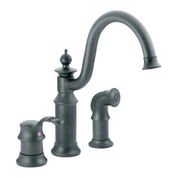 """Moen - Moen S711WR Waterhill Single-Handle High-Arc Bar Faucet w/Spray (Wrought Iron) - Moen's 711WR is part of the Waterhill collection. Moen's 711WR has a Wrought Iron finish. Moen's 711WR is a new style high Arc Bar Faucet with convenient side spray. Moen's 711WR 3-hole 4"""" Center installation has 9 3/8"""" long and 12 1/4"""" high arc spout, with a full 8 1/2"""" from deck to aerator. Moen's 711WR single lever handle provides ease of operation. Moen's 711WR has 1/2"""" IPS connections and will accept standard ball nose connections for 3/8"""" tubing. Includes hot and cold indicators, and has Hydrolock quick connect installation. The Waterhill collection carries an intricate charm that will instantly add character complementing a nostalgic decor and enriching your homes necessary space. Wrought Iron is a new finish from Moen and provides style and durability. Moen's 711WR metal lever handles meets all requirements ofADA ASME A112.18.1/CSA B125.1, NSF 61/9. Proposition 65, Lifetime Limited Warranty."""