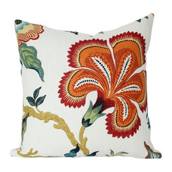 The Pillow Studio - Spark Hothouse Flower Fabric-- Schumacher Designer Pillow Cover - The exotically-styled, large flowers are gorgeous on this fabric! Celerie Kemble's Hothouse Flowers fabric looks great on a pillow!