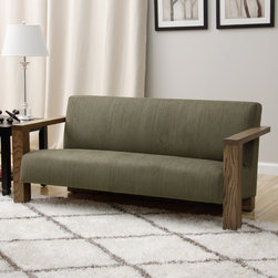 None - Grey Woven Fabric Sofa - This modern sofa is upholstered in elegantly textured, woven grey fabric. The sleek lines of the naturally finished wood frame complete the striking look of this fantastic furniture.