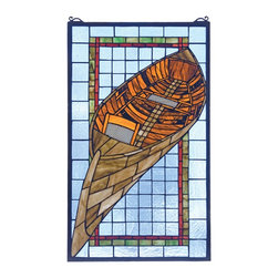 Meyda Tiffany - Meyda Tiffany Guideboat Stained Glass Tiffany Window X-93412 - Ideal for the boating enthusiast, or even for worldly decor, this Meyda Tiffany stained glass Tiffany window is a delightful design. From the Guideboat Collection, the boat features shades of rusty brown paired with aged brown, all offset by a pale blue backdrop. Red and green trim complete the look.