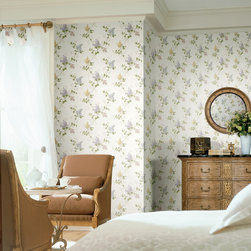 Meadowlark - An elegant and sunny bedroom decor idea. Love the sitting area set for tea and traditional furnishings with the beautiful lilac wallpaper