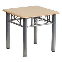 Flash Furniture - Flash Furniture Natural Laminate End Table with Silver Steel Frame - This durable laminate table will make a great addition to your reception or office to hold magazines and decorative items. [JB-6-END-NAT-GG]