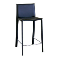 Wholesale Interiors - Crawford Black Leather Counter Height Stool - This leather counter stool will give your room that finishing touch that it needs and deserves. Stool constructed with hardwood frame. Durable bonded leather upholstery for longer lasting use and stain resists for easy clean up. Leg constructed with solid rubber wood with veneer finish completes with lightly padded with high density foam for added comfort. If you need a classic stool that will hold up well to entertaining and fun, then this is the bar stool that you will want and need.