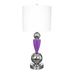 "Van Teal - Contemporary Van Teal Every Day 35"" High Violet Acrylic Table Lamp - This modern table lamp design features an artistic base of multiple shapes in chrome finish with acrylic details. A bold white drum shade tops off this stylish design. Part of the Fantasy Collection. Chrome finish. Violet acrylic. White linen drum shade. Maximum two 60 watt bulbs (not included). 35"" high. Shade is 15"" x 16"" x 11"".  Chrome finish.  Violet acrylic.  By Van Teal Lighting.  White linen drum shade.  Maximum two 60 watt bulbs (not included).  35"" high.  Shade is 15"" x 16"" x 11""."