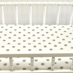 New Arrivals Inc. - Gray on White Polka Dot Changing Pad Cover - Wink Changing Pad Cover