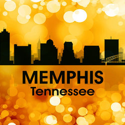 Memphis TN Golden Bokeh  Print - Show off your Memphis pride with this mixed-media artwork. Combining digital and photographic layers, it captures all the charm of the birthplace of the blues and home to Elvis Presley.