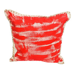 Mayenne Maison - Mayenne Maison Weathered Burlap Pillows, Coastal Red - 100%Cotton hand painted canvas duck cloth.