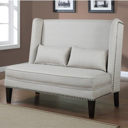 Wingback Natural Linen Love Seat - A white linen high-back settee can stand alone or be used as bench-style seating at a dining table.