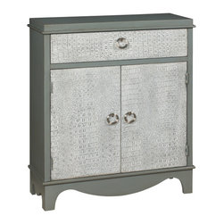Coast To Coast - Coast To Coast - One Drawer Two Door Cabinet In Kalls Grey And Antique White - This sophisticated cabinet has a subtle finish in Kathmore Grey and Antique White which highlights the unique crocodile textured application across the wide top drawer and two lower doors. The doors open to reveal a generous interior with a shelf. Oversized metal ring pulls add even more interest.