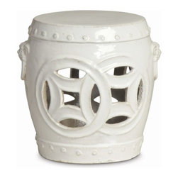 """The Ivory Company - Double Fortune  Garden Stool - A traditional design with modern appeal. This garden stool makes a perfect addition to your living space as a casual seat, side table, or clustered together to be used as a coffee table. White ceramic with a high-gloss finish.These exquisitely crafted pieces are a lovely way to accent your home. Inspired by different classic oriental styles these garden stools have become a modern day art form. These stools come in a large variety of styles and colors. We have selected ours for the distinctive design aesthetics they portray and the overall sense of scale and drama that they seem to convey. Enjoy these in and out of the house - they are wonderful accent pieces and go well with all types of decor.Measures 12x11.5""""H"""