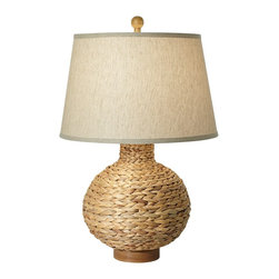 "Lamps Plus - Coastal Seagrass Bay Round Table Lamp - The allure of the sea comes alive in this round table lamp. The round woven sea grass base is perfect for a nautical theme interior but stylish and versatile enough to work with most decor styles. Natural sea grass coloring and a linen shade complete the look. Sea grass and resin construction. Linen shade. Maximum 150 watt bulb (not included). 30"" high. Shade is 15"" across the top 19"" across the bottom and 12"" high.  Sea grass and resin construction.   Linen shade.   Maximum 150 watt bulb (not included).   30"" high.   Shade is 15"" across the top 19"" across the bottom and 12"" high."