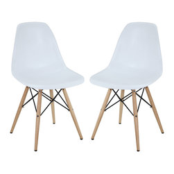 Modway - Modway EEI-928 Pyramid Dining Side Chairs Set of 2 in White - These molded plastic chairs are both flexible and comfortable, with an exciting variety of base options. Suitable for indoors or out, appropriate for the living and dinning room, these versatile chairs are a great addition to any home d�cor statement.