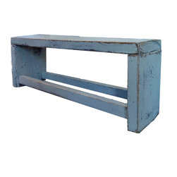 drokshop - Hand Distressed 'Worn In' Dining Bench - Salvaged from a century old farmhouse in a quaint, upstate New York town. These reclaimed wooden beams haven't lost their sense of 'rustic realness' but were given a modern splash of Saltwater Blue, flooding it with that Oh-So-Chic style.