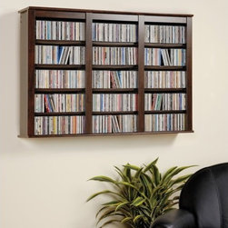 Prepac - Triple Media Multimedia Wall Mounted Storage Rack - This Espresso wall hanging media storage cabinet is a beautiful mix of practical storage and home d cor fashion. This storage shelf is designed to manage a large collection of CDs or DVDs with style. Mount on your wall as a stand-alone d cor piece or above a complementary piece to make your collection easily accessible. Wall mounted storage is ideal when floor space is limited, and with our easy to hang system can be mounted at any height to best suit your room requirements. Twelve fully adjustable shelves can be set to any position to accommodate various types of media. Features: -Adjustable shelves.-Distressed: No.-Country of Manufacture: Canada.Specifications: -Holds 523 CDs, 213 DVDs, 408 Blu-Ray discs, 124 videos.Dimensions: -Overall Product Weight: 53.Warranty: -5-Year manufacturer''s limited warranty on parts.