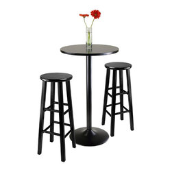 Winsome - Winsome Obsidian 3-Piece Pub Table with 29 Inch Stools in Black - Winsome - Pub Sets - 20331 - Functional and stylish, the 3 piece Pub set includes a table and two square legged stools. Set is constructed of metal and solid wood with a classy black finish. Enjoy an intimate cocktail with your significant other or order an extra set and invite some friends!