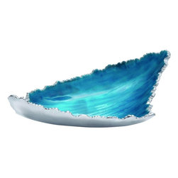 """Benzara - Oceanic Patterned Striking Aluminum Enamel Tray - Check out this striking Aluminum Enamel Tray that will be a great addition to your kitchen space. This Aluminum Enamel Tray is made of quality aluminum that will last for years. Easy to clean and maintain this Aluminum Enamel Tray is polished in grey and blue color palette. Unique styled this Aluminum Enamel Tray will support all kinds of interiors. You can use this fascinating Aluminum Enamel Tray to serve your guests with their refreshments. This Aluminum Enamel Tray will grab the attention of many and make you win appreciations. Besides, this Aluminum Enamel Tray can also be used at hotel, parties, lounge to allure your guests.Guests and other visitors will be surprised to check out this lovely Aluminum Enamel Tray. You can also wrap this beautiful Aluminum Enamel Tray to gift your near and dear ones. Aluminum Enamel Tray measures 17 inches (W) x10 inches (L) x4 inches (H); Made of quality aluminum; Oceanic styled; Dimensions: 6""""L x 6""""W x 10""""H"""