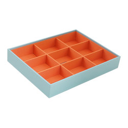 WOLF - Stackables Large Deep Tray, Aqua - A vibrant, colorful combination of jewelry and accessory storage trays. Available in purple, aqua, yellow, and orange with contrasting fabric lined interiors they're perfect for organizing all of your jewelry and accessories! Each piece is sold separately and is designed to be mixed, matched and stacked to meet your individual storage needs.