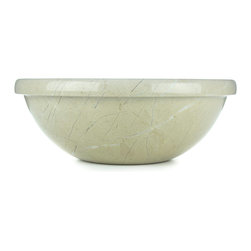 Sungmer Sinks™ - Executive Beige Marble™ Hand Carved Vessel Stone Sink - Executive Beige Marble™ embodies a versatile sophisticated elegance. This minimalist piece of art is crafted from fine-grained crystallized limestone. Subtle patterns and white streaks of calcite provide interest without competing with other elements of your design.