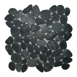 "CNK Tile - Sliced Charcoal Black Pebble Tile - Each pebble is carefully selected and hand-sorted according to color, size and shape in order to ensure the highest quality pebble tile available.  The stones are attached to a sturdy mesh backing using non-toxic, environmentally safe glue.  Because of the unique pattern in which our tile is created they fit together seamlessly when installed so you can't tell where one tile ends and the next begins!     Usage:    Shower floor, bathroom floor, general flooring, backsplashes, swimming pools, patios, fireplaces and more.  Interior & exterior. Commercial & residential.     Details:    Sheet Backing: Mesh   Sheet Dimensions: 12"" x 12""   Pebble size: Approx 3/4"" to 2 1/2""   Thickness: Approx 3/8""   Finish: Natural Sliced Black"