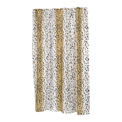 "Extra Long ""Hailey"" Fabric Shower Curtain - ""Hailey"" extra long 100% polyester fabric shower curtain, size 70"" wide x 84"" long. Our Extra Long ""Hailey"" Shower Curtain's exotic animal print pattern is sure to make your bathroom sizzle.  Specially designed to fit where a standard size curtain is too short (curtain measures 70'' wide x 84'' long), ""Hailey"" is 100% polyester, machine washable, and water resistant. For those with varying size needs, ""Hailey"" comes in standard and extra wide. Also available separately is the coordinating ""Hailey"" window curtain.  Machine wash in warm water, tumble dry, low, light iron as needed"