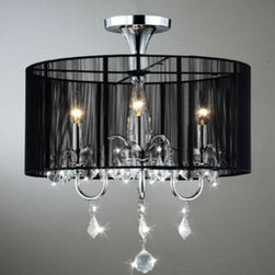 """WAREHOUSE OF TIFFANY - Victoria Crystal Chandelier - This Victoria Crystal Chandelier creates a glamorous sparkling pendant that complements your modern look. Made of Clear Crystal, with black fabric, metal and stands 19""""W x 20""""H, uses 3 bulbx60 watts (not included) type E14."""