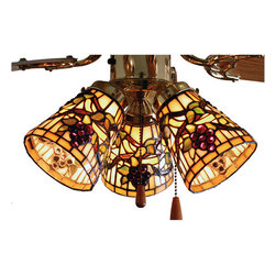"""Meyda Tiffany - Meyda 4""""W Jeweled Grape Fan Light Shade - Radiant Concord Purple jewels, Vineyard Green leaves and glistening dew kissed Bark Brown vines wrap around on a Golden Sunshine banded shade. Bring sunny vineyards to your own home with this fan light shade. Please note three shades are shown together for effect only, please order quantity of shades needed, hardware is not included."""