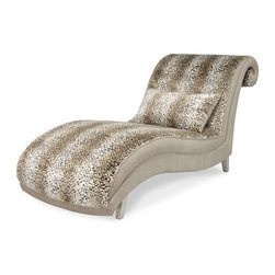 Aico Amini - Aico Hollywood Swank Chaise by Michael Amini, Jaguar - Sensuous curved lines paired with lustrous fabric creates the ultimate luxury chaise Aico has become known for, adding instant glamorous Hollywood style to your living room decor. Relax like a movie star on this super chic Hollywood Swank Armless Chaise in a gorgeous jaguar print. Place this chaise in your living room, bedroom, or even your work room for a stylish form of relaxation. The back features an open scroll, complimenting the sofa arms when paired with the Hollywood Swank living room collection.