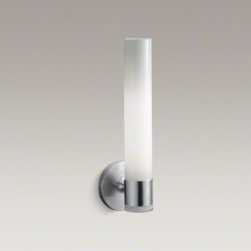 KOHLER - KOHLER Purist(R) single wall sconce - The minimalist design of Purist faucets and accessories complements both traditional and contemporary bath environments. Featuring an integrated LED night-light in its base, this wall sconce provides two forms of soft lighting and echoes the elegant simplicity of the Purist Collection. Available in an array of KOHLER finishes to match any bathroom decor.