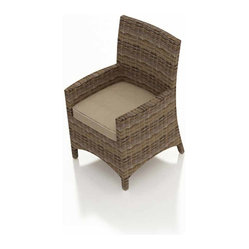 Cypress 2 Piece Patio Dining Armchair Set, Beige Cushions