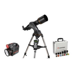 "Celestron NexStar 102 SLT Telescope Ultimate Bundle - Designed to be an affordable entry-level to mid-level computerized GOTO telescope the Celestron NexStar SLT 102 Refractor is loaded with valuable design features. With pre-assembled adjustable stainless steel tripods and quick-release fork arms and tubes the NexStar SLT telescope can be set up in a matter of minutes - no tools required! You'll see details of the lunar surface Venus and its phases Mars resolved as an orange disc Jupiter and four moons Saturn with rings plainly visible and much more! NexStar SLT refractors like the 102 SLT can also be used as land-based spotting scopes. Intelligent Design Powered by 8 AA user-supplied batteries an optional AC adapter optional car-battery adapter or powertank power source these NexStar GOTO's love to travel. The internal battery compartment provides power to the high precision servo motors for rigid low-vibration performance while eliminating cord wrap issues associated with external battery packs. With the NexStar SLT's ergonomically engineered hand controller the user is free to remove the hand control from its holder for remote use or leave it cradled for hands-free operation. With a touch of a button you can select the object catalog change the slew speed view fascinating information about an object or simply find out whether a desired object is visible in the sky. Standard Features & Accessories Computerized hand controller with 4000-plus-object database Quick-release fork-arm mount optical tube and accessory tray for quick set-up Comes with """"The Sky"""" Level 1 planetarium software and NSOL telescope control software for controlling the telescope via computer; requires the optional Celestron Computer Cable Internal battery compartment to prevent cord wrap during use Sturdy stainless steel tripod Auxiliary port for additional accessories such as an optional GPS accessory Motorized altazimuth mount and fully computerized hand controller US and International city database for easy location settings Flash upgradeable hand-controller software and motor-control units About Celestron Refractor Telescopes Celestron's high-quality refractor telescopes allow beginners to improve upon Galileo's vision with a simple reliable design that is easy to use requires minimal maintenance and is versatile enough for land or sky viewing. Known for viewing planetary detail and splitting close double-stars. A refractor telescope uses a lens as the primary. The lens at the front of the telescope bends the light passing through it until it comes to a single point called the ""focal plane"". The long thin tubes of refractor telescopes look much the same as those Galileo used centuries ago. High quality optical glass and multi-coatings provide today's sky watchers views Galileo never dreamed of. The refractor type of telescope is very popular with individuals who want mechanical simplicity rugged reliability and ease of use. Because the focal length is limited by the length of the tube refractor telescopes become quite bulky and expensive beyond a four inch aperture. This limits the light gathering properties of refractor telescopes but it is an excellent choice for beginners and those who prefer simple operation and versatility. Refractor telescopes are also a popular choice because of their unobstructed view high contrast and good definition. Refractor Advantages Easy to set-up and use Simple and reliable design requires little or no maintenance Excellent for lunar planetary and binary star observing especially in larger apertures Good for terrestrial viewing High contrast images with no secondary mirror or diagonal obstruction Color correction is good in achromatic designs and excellent in apochromatic and fluorite designs Sealed optical tube reduces image-degrading air currents and protects optics Objective lens is permanently mounted and aligned Refractor Disadvantages More expensive per inch of aperture than Newtonians or Catadioptrics Heavier longer and bulkier than equivalent aperture Newtonians and Catadioptrics The cost and size factors limit the practical maximum size primary to smaller apertures Some color aberration in achromatic designs (doublet)"