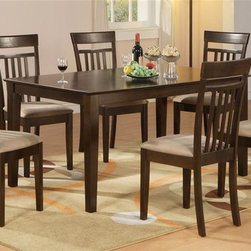 East West Furniture - Capri 5 Pc Dining Set - Includes table and four chairs. Contemporary style. Rectangular table top with four straight solid wood legs. Slat back chairs. Upholstered seat. Made from rubber solid wood. Assembly required. Table: 60 in. L x 36 in. W x 30 in. H (68 lbs.). Chair: 17.5 in. W x 17 in. D x 38.5 in. H (33 lbs.)Experience contemporary refinement in your kitchen with Capri�۪s elegant and sleek dining room sets. This Capri table and chairs dinette offers crisp, clean lines and graceful elegance. Enticing dark cappuccino finish offers rich elegance and smart style. Solid wood table top provides simple elegance and modern class.